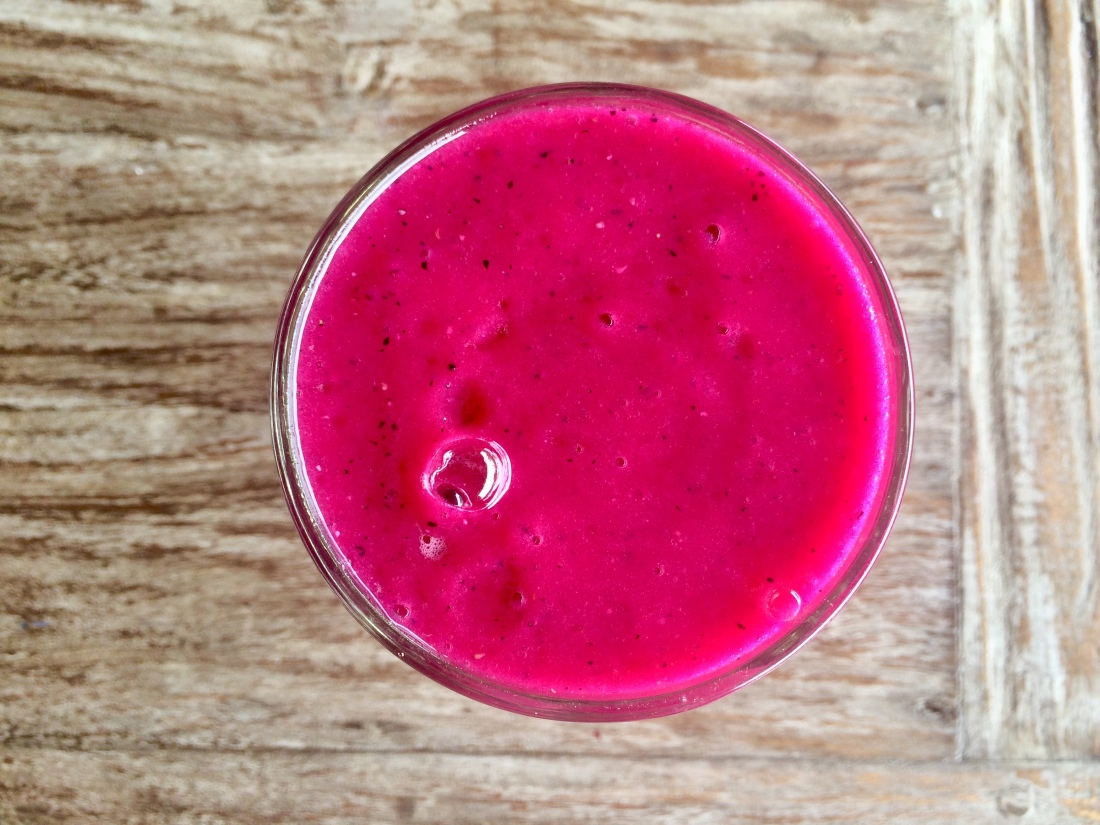 Purple dragon fruit smoothie. The Mat Movement luxury yoga retreats, online yoga classes and inspiring plant-based recipes