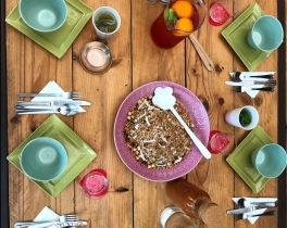 Granola and iced tea with www.thematmovement.com